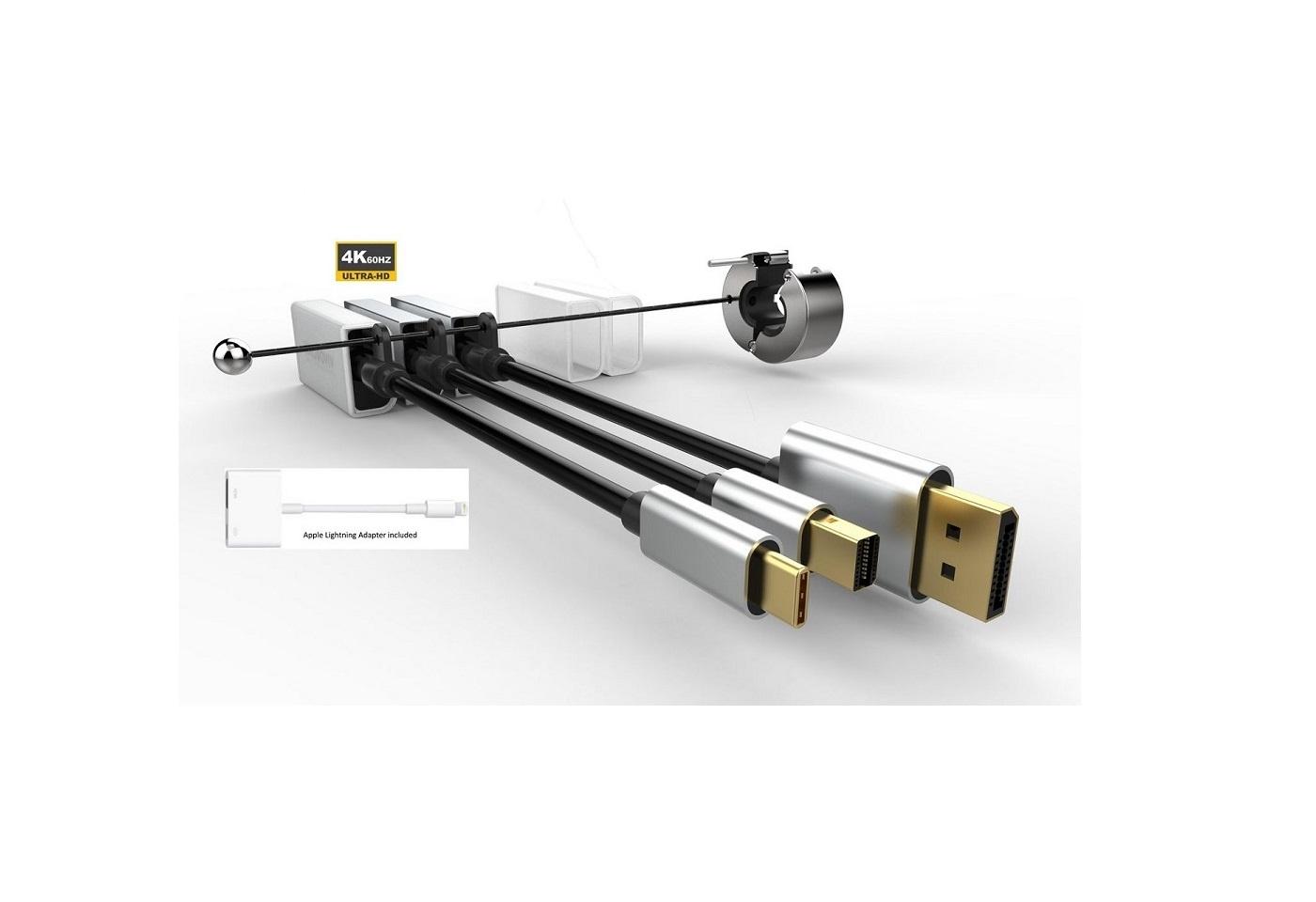 Prémium adaptergyűrű 4-HDMI konverter:USB-C, DP,mini DP, Apple lightningcsatlakozó átalakító